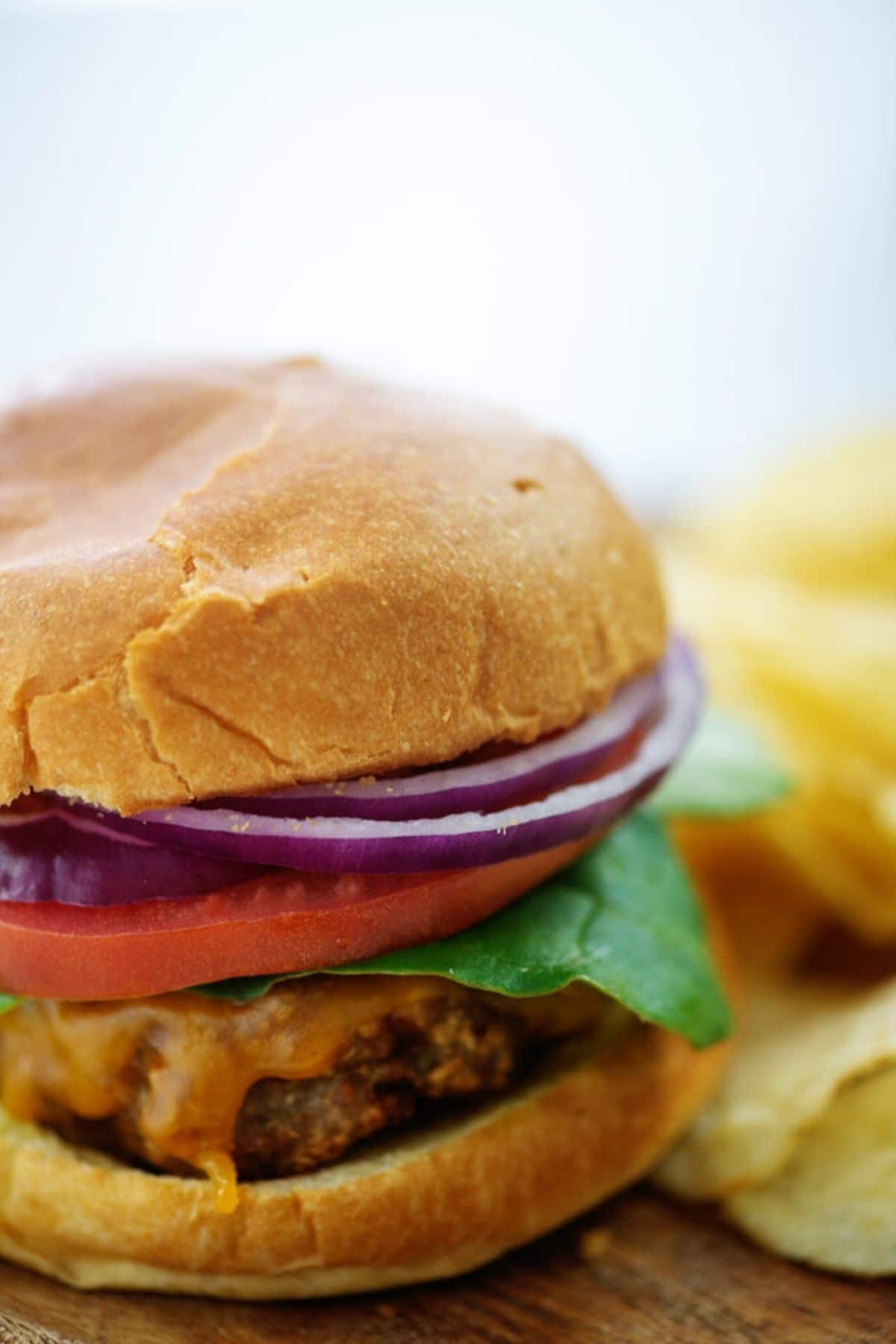 Turkey burger with onion tomato and lettuce