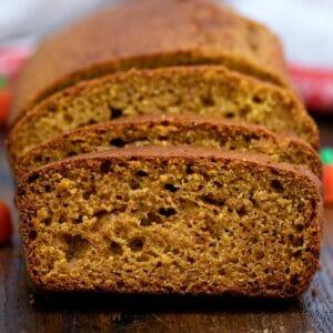 Loaf of pumpkin bread sliced on black plate