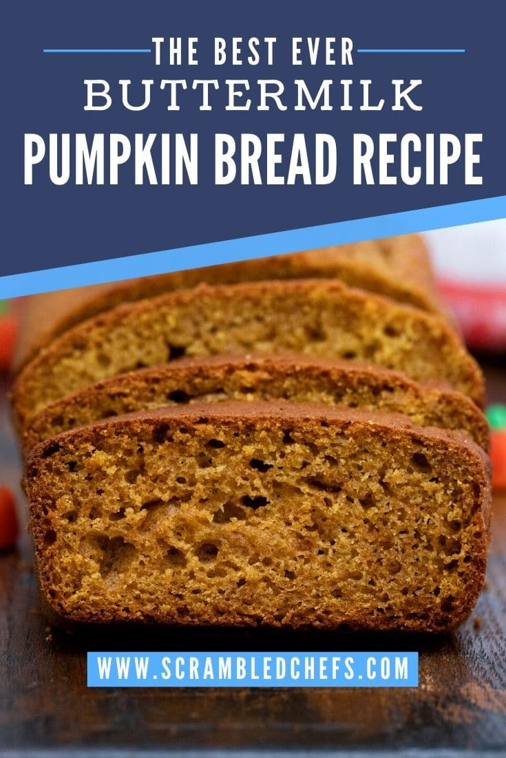 Sliced pumpkin bread on table with blue banner overlay on image