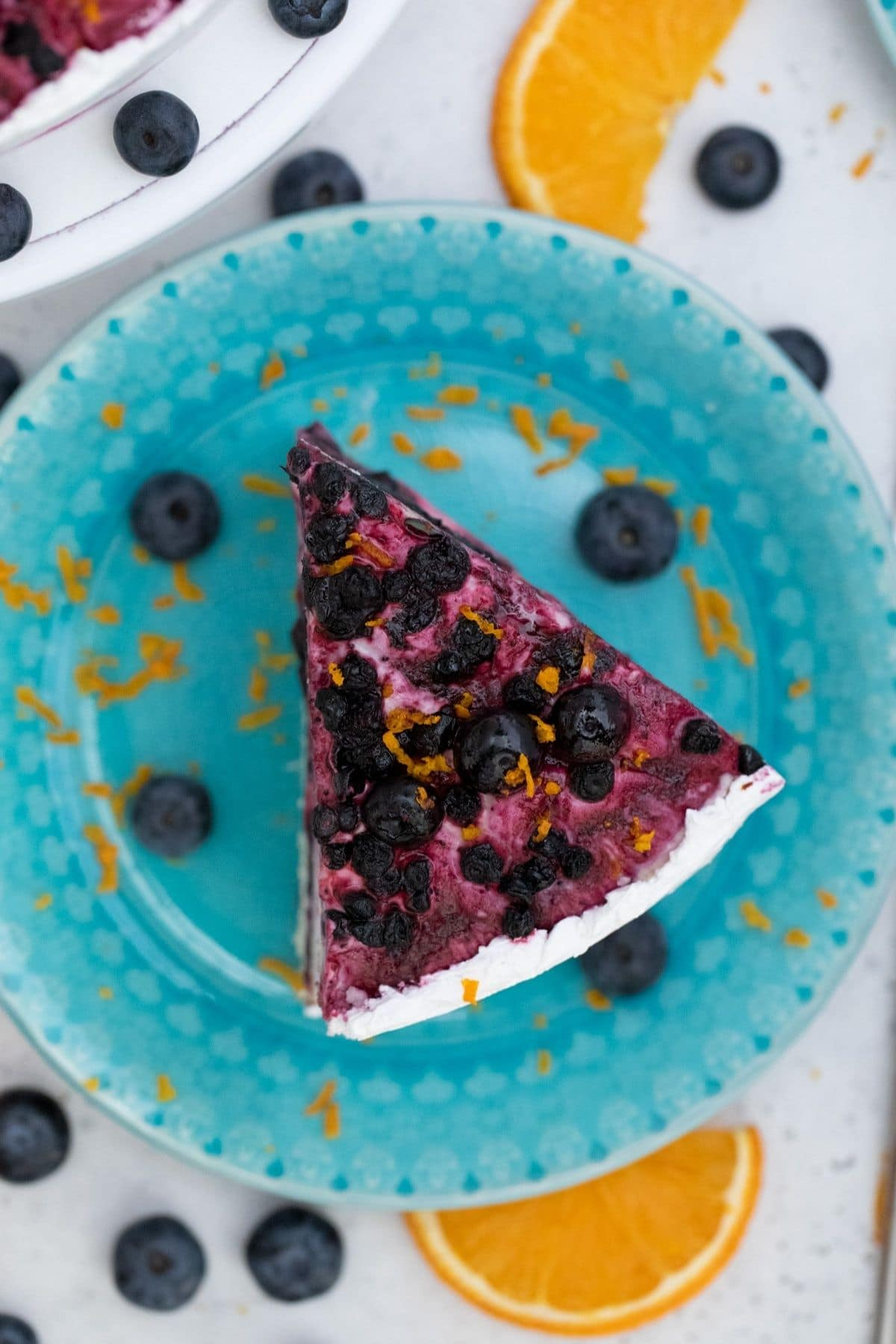 Picture of cake on blue plate from overhead