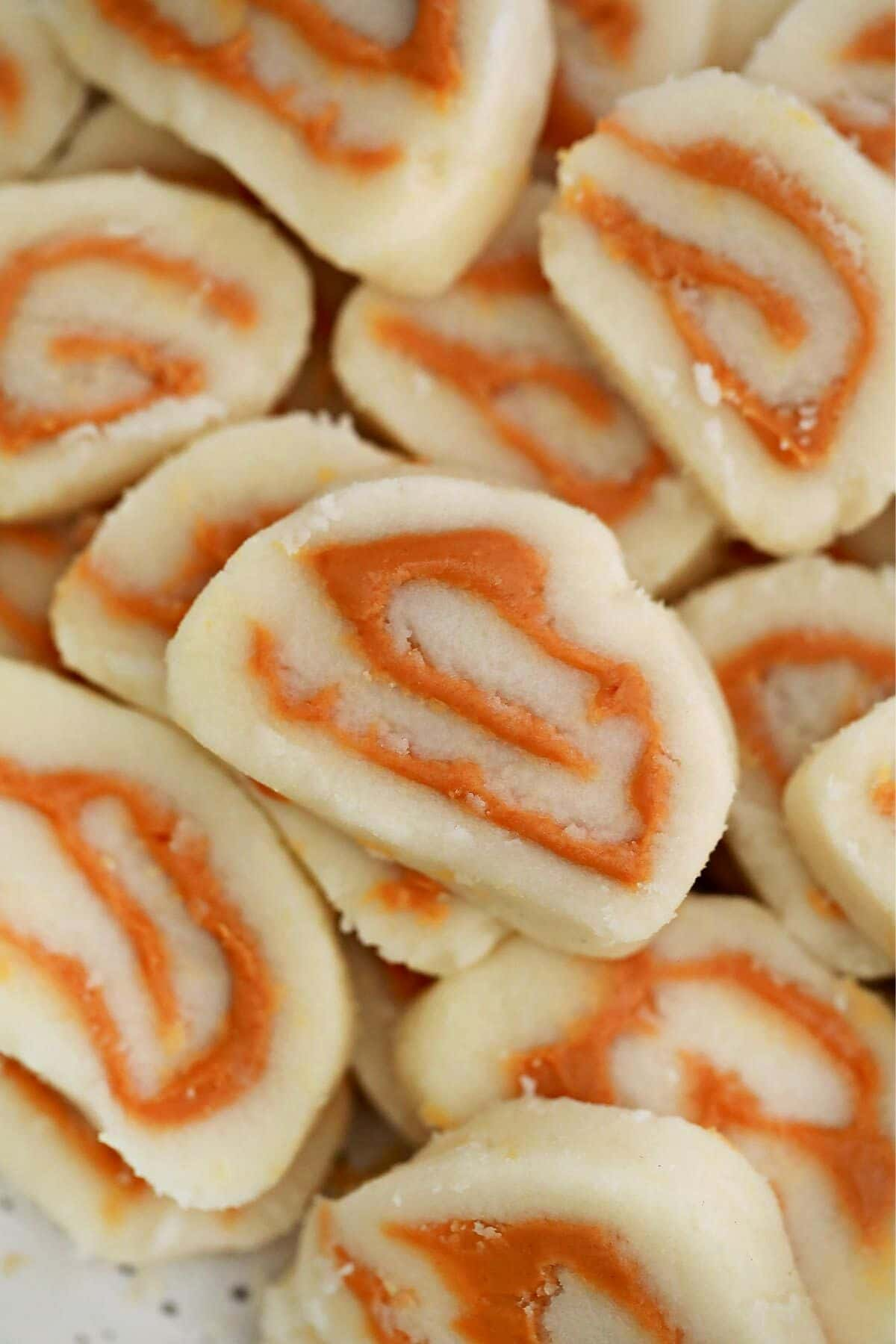 Close up picture of peanut butter pinwheels candy