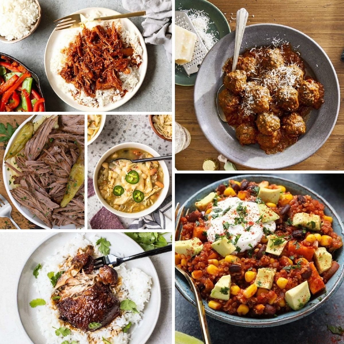Easy slow cooker recipes in a collage.