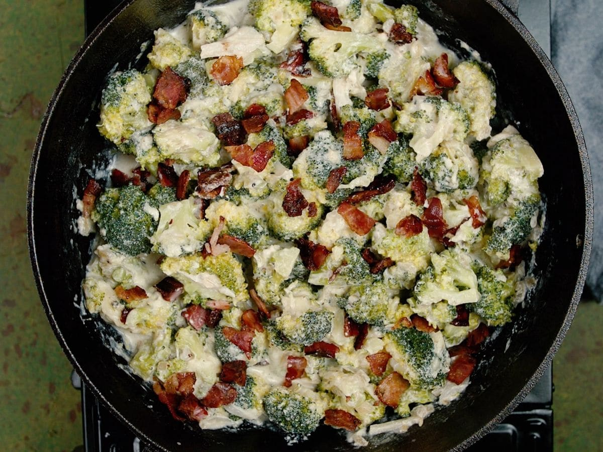 Bacon and broccoli in cast iron skillet