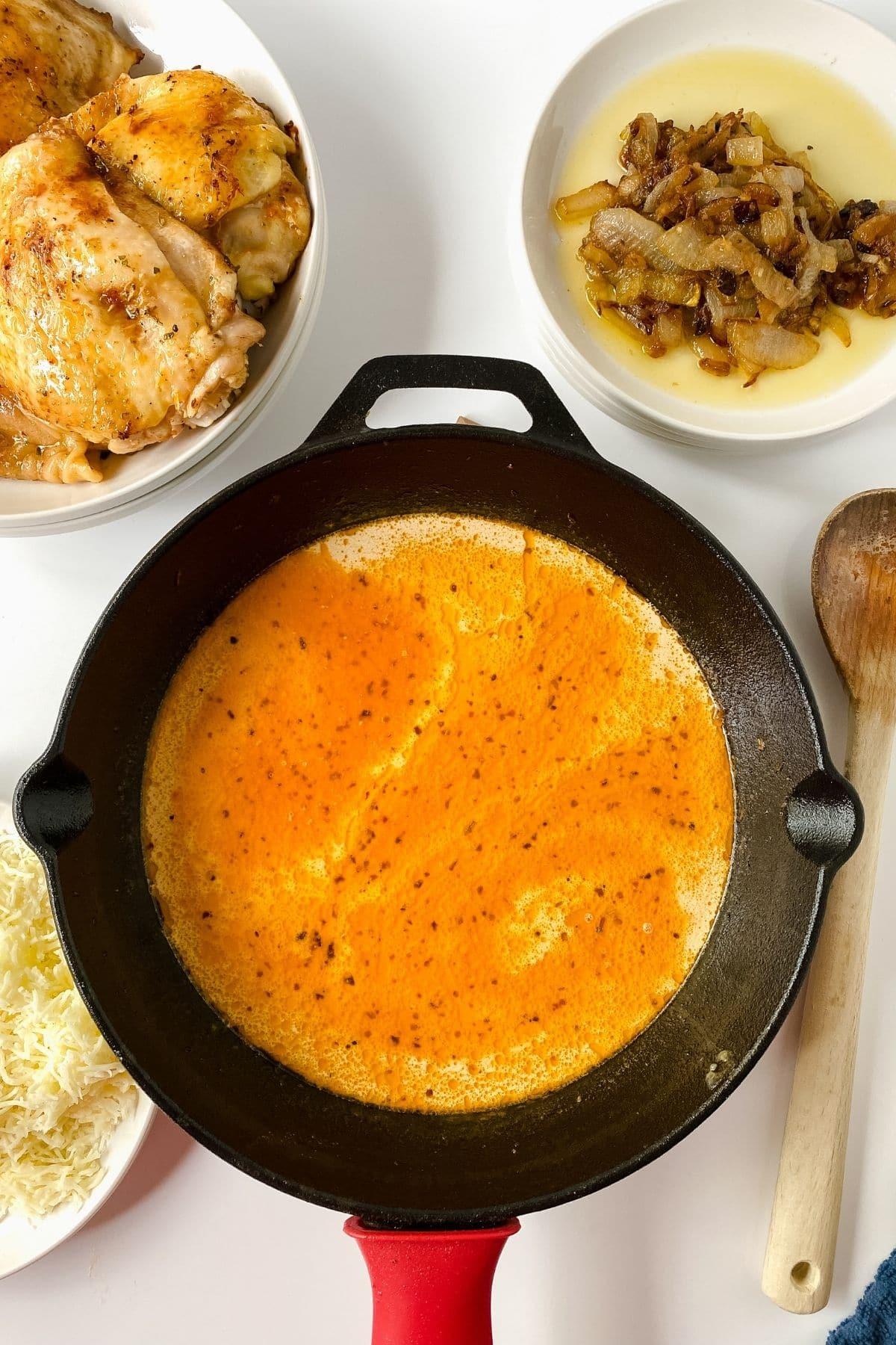 sauce in cast iron skillet