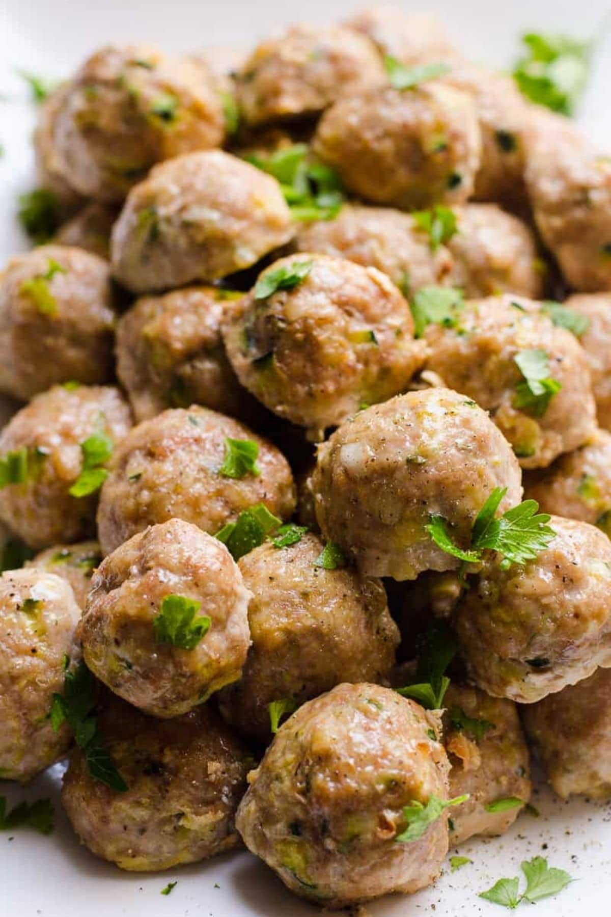 Meatballs on plate with parsley