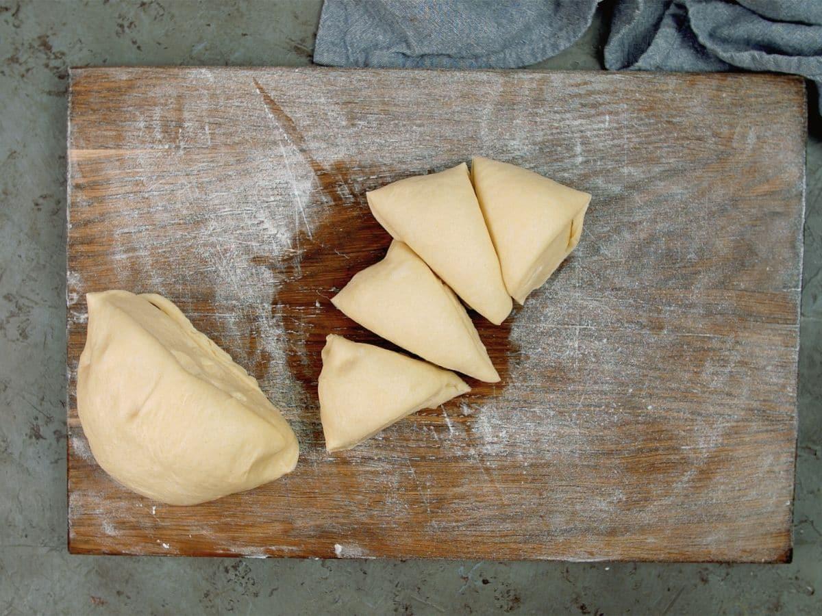 bread dough on cutting board