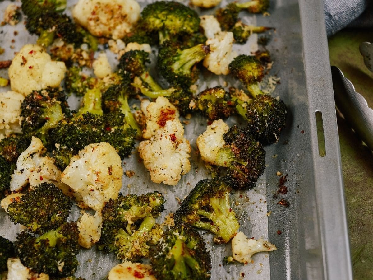 baking sheet filled with roasted vegetables