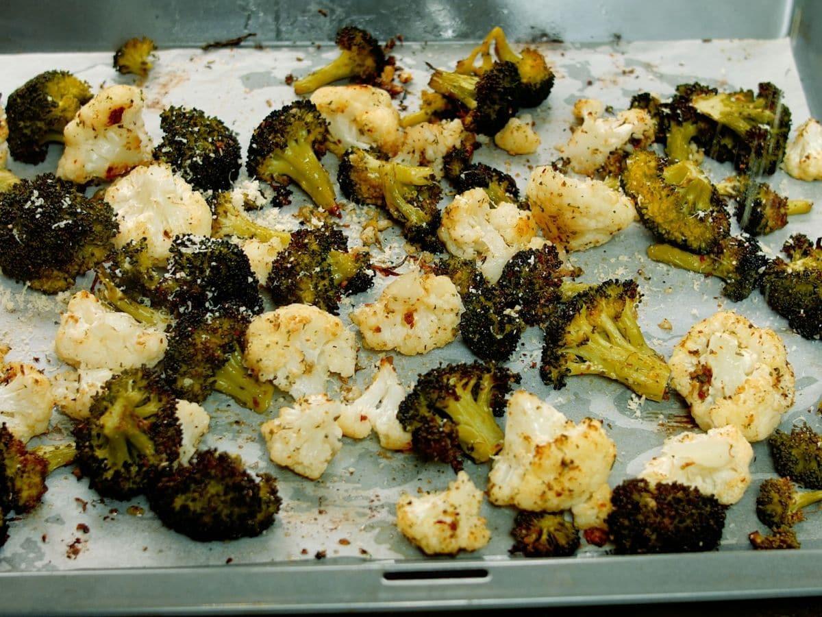 baking sheet of roasted vegetatbles on table