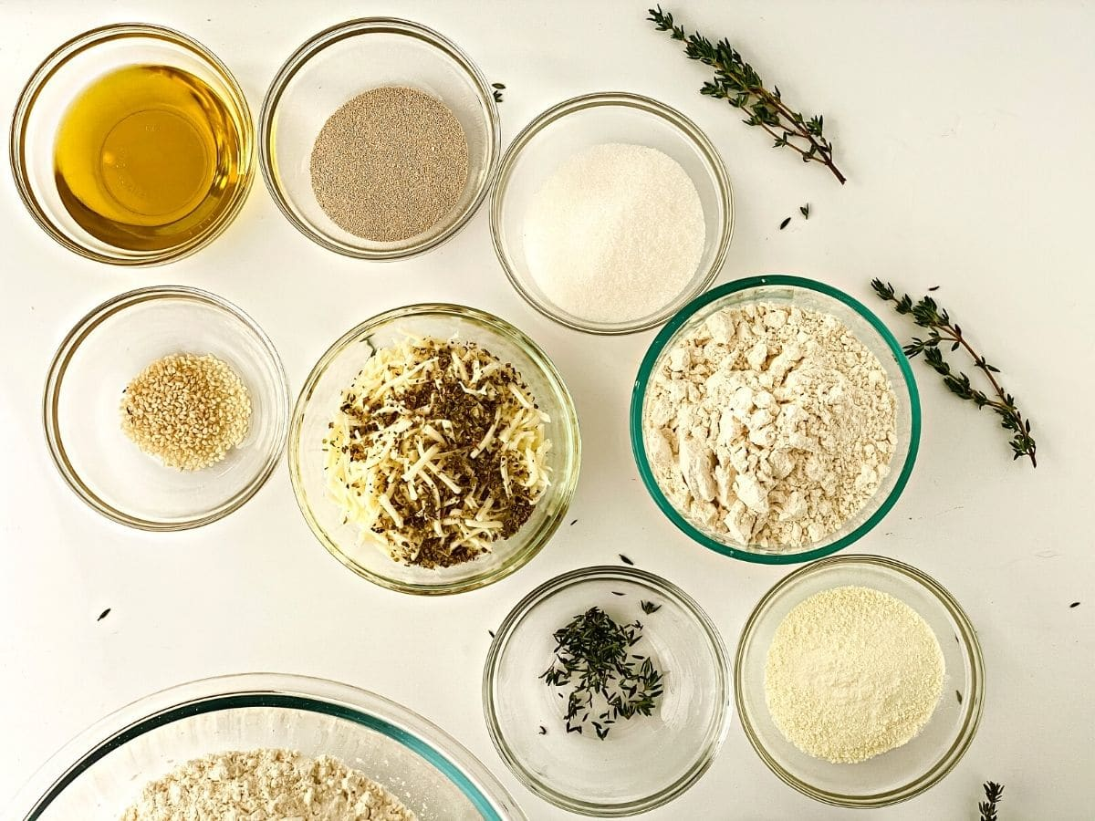 ingredients in glass bowls on white counter