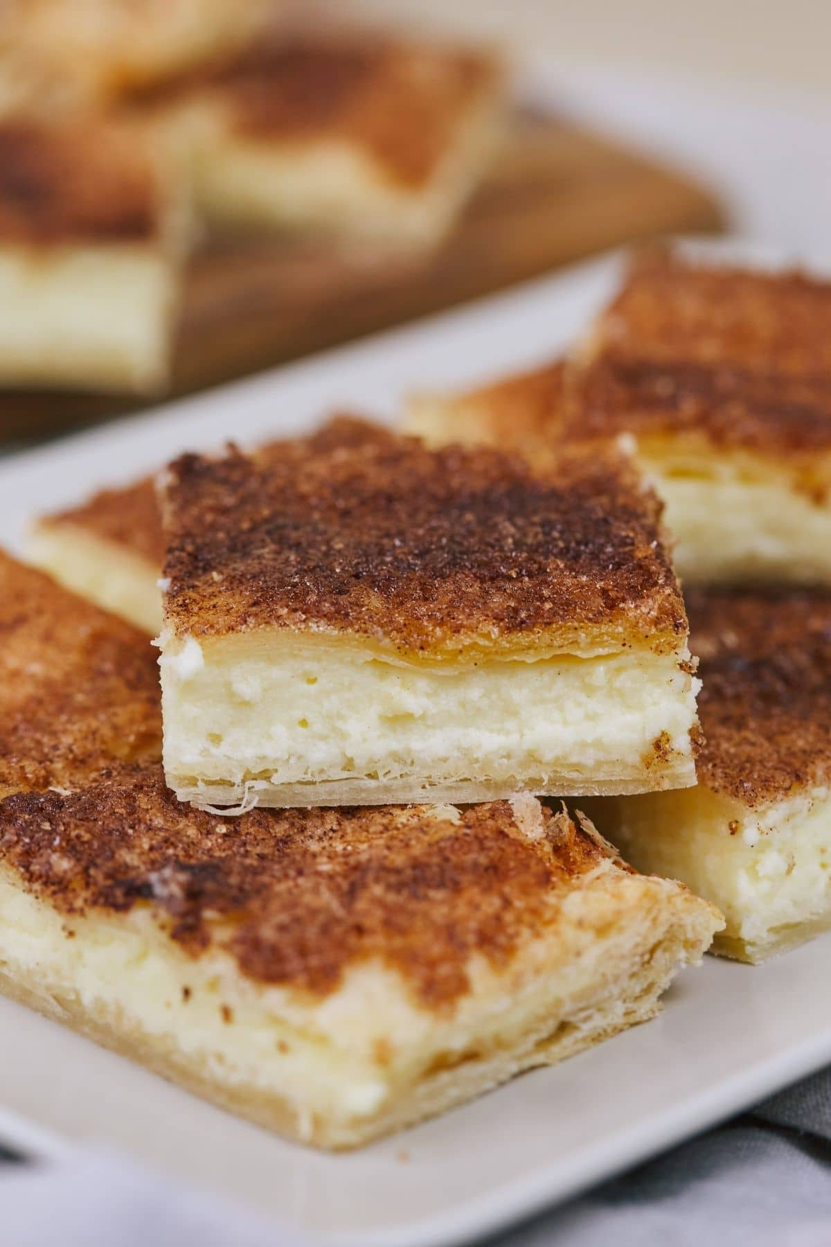 White platter of sopapilla cheesecake pieces