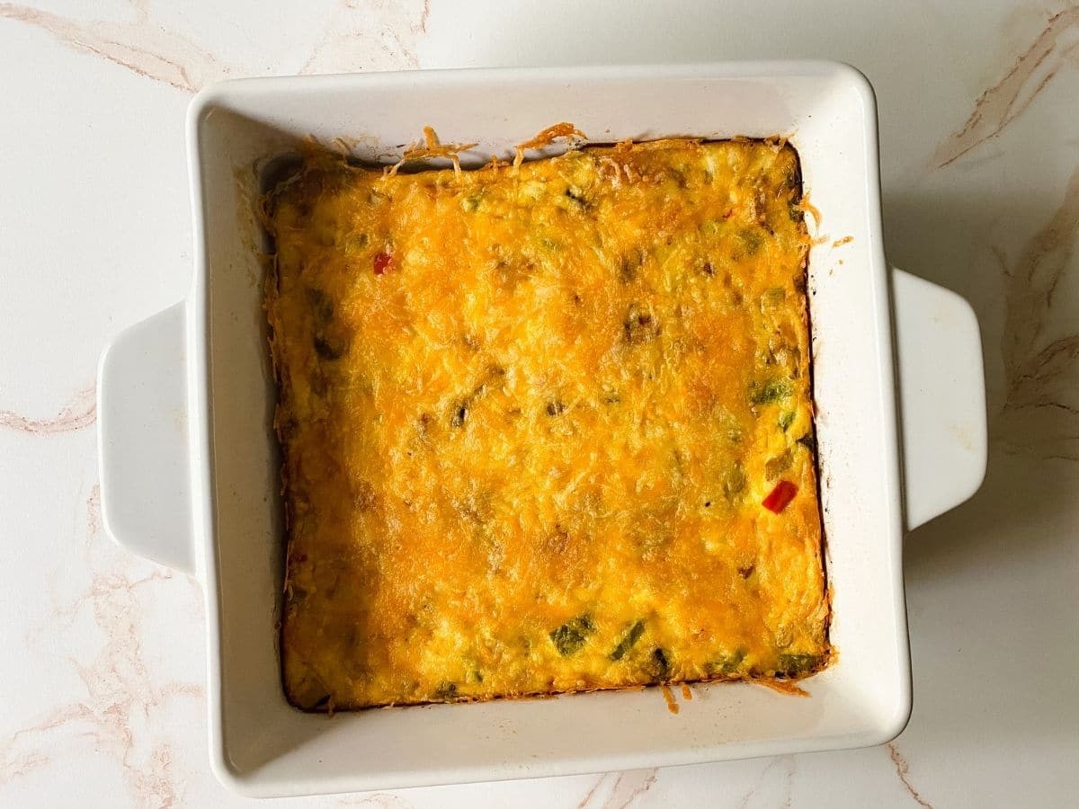 square white pan filled with frittata