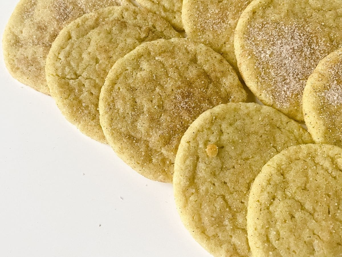 matcha snickerdoodles displayed on white table